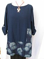 Crysanthemums indigo tunic (size M/L and L/XL)