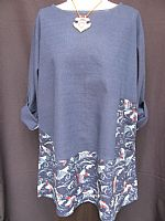 Japanese Fish Indigo tunic (in sizes M/L and L/XL)