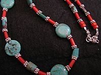 Photo 2 of our Sea bamboo and turquoise necklace