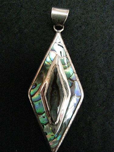 Photo of our Paua shell and silver pendant