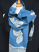 Blue and white cotton batik scarf