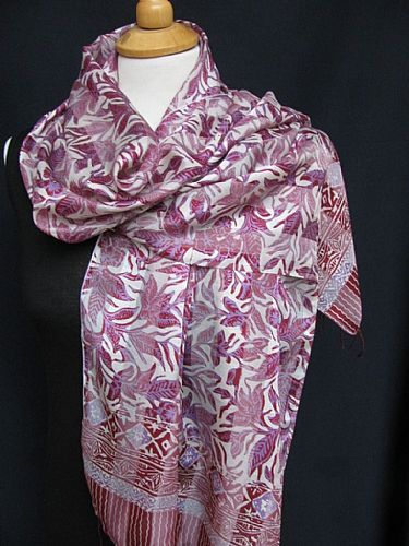 Photo of our Batik Silk Scarf - Lilacs and Mauves
