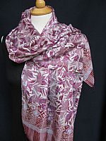 Batik Silk Scarf - Lilacs and Mauves