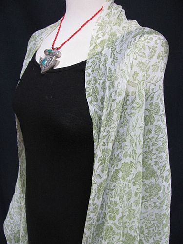 Photo of our Crepe de Chine Crinkle Shawl in Pistachio or Lavender