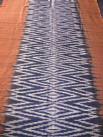 Photo of our Indigo and deep terracotta ikat