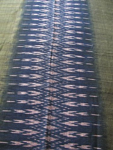Photo of our Indigo and leaf green ikat